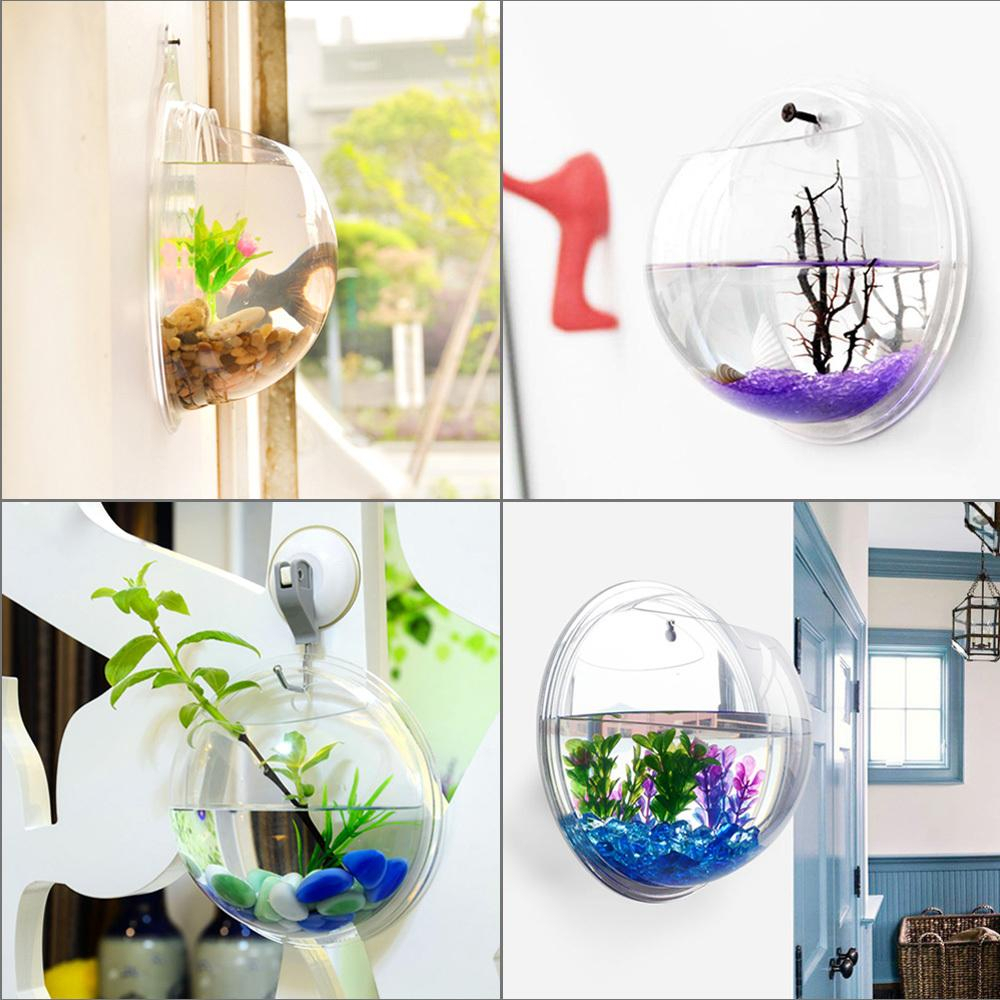 4 Size Transparent Acrylic Wall Plants Hanging Wall Aquarium Bowls Vase  Fish Tank Aquarium Plant Pot Home Decor Home Decoration regarding Vase And Bowl Wall Decor (Image 5 of 30)