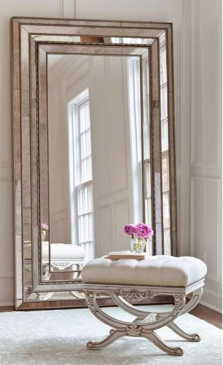 43+ Inspiring Large Wall Mirror Ideas #homedecorideas Throughout Lake Park Beveled Beaded Accent Wall Mirrors (View 1 of 30)
