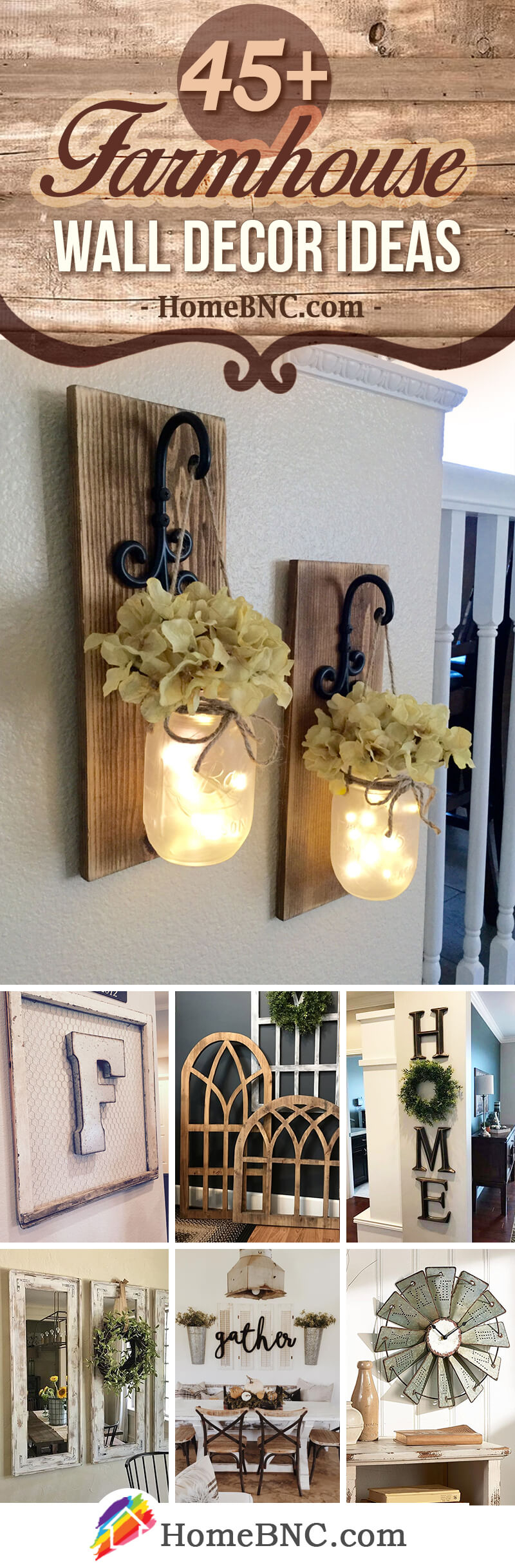 45+ Best Farmhouse Wall Decor Ideas And Designs For 2019 inside Choose Happy Wood Wall Decor (Image 3 of 30)