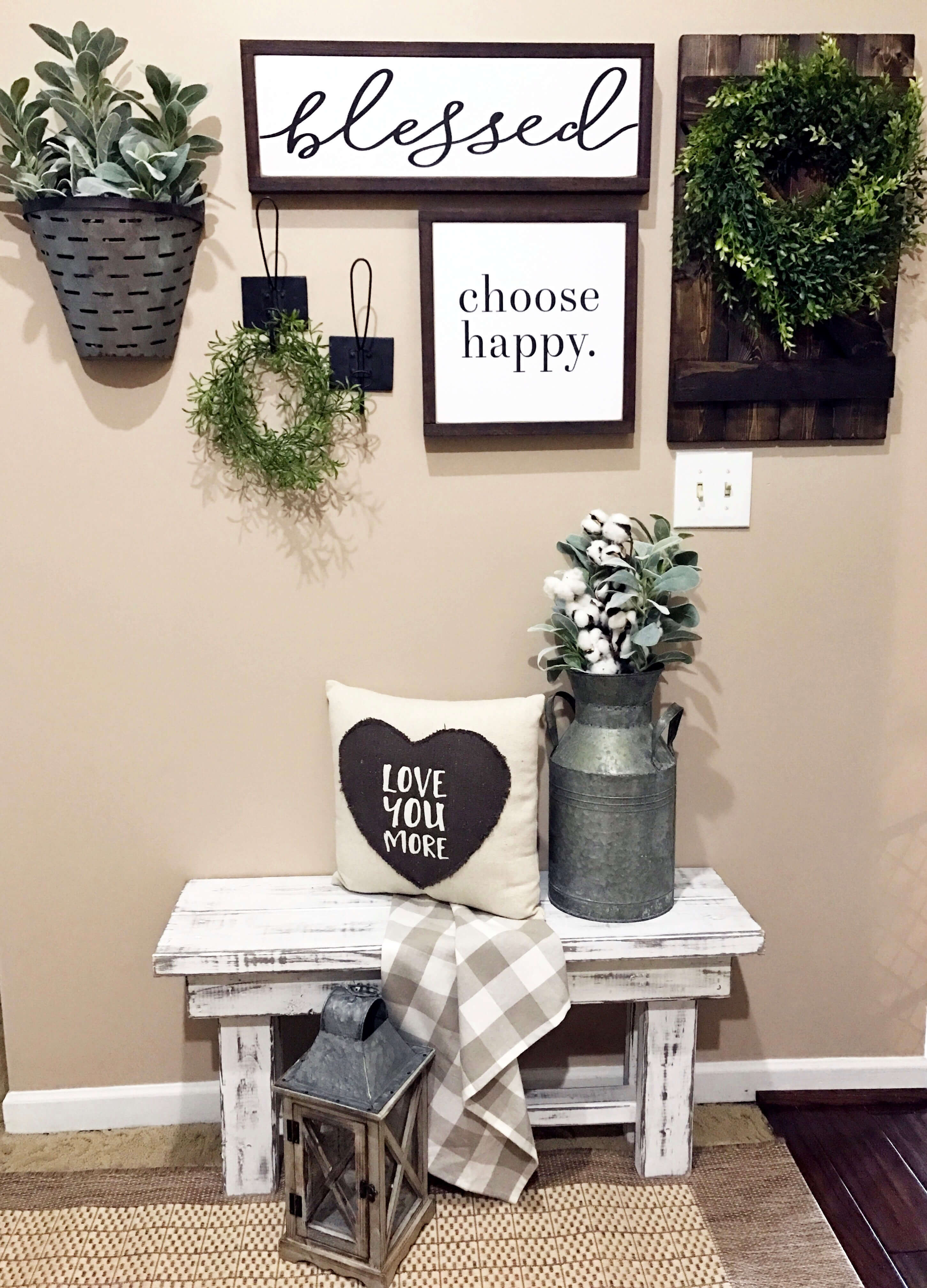45+ Best Farmhouse Wall Decor Ideas And Designs For 2019 regarding Choose Happy Wood Wall Decor (Image 4 of 30)