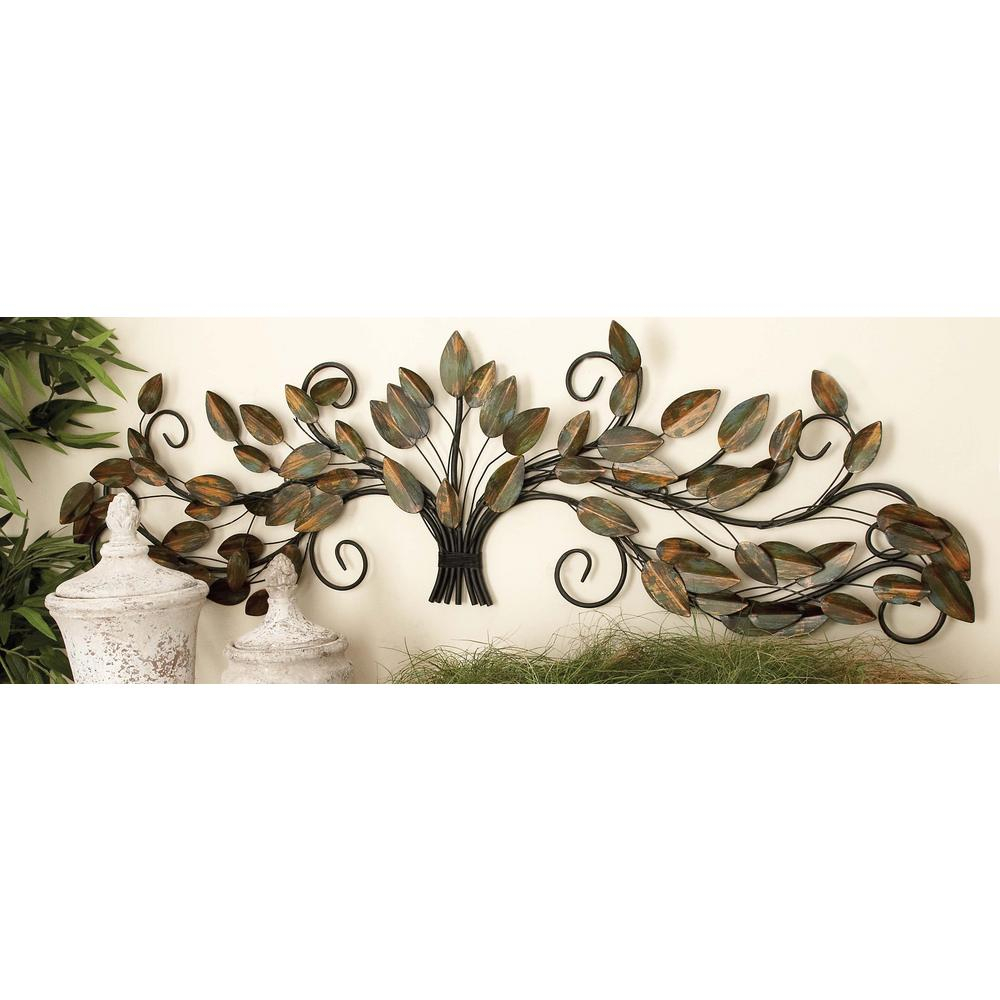 47 In. X 14 In. New Traditional Brown And Green Metal Gathered Leaves Wall  Decor with Leaves Metal Sculpture Wall Decor (Image 4 of 30)