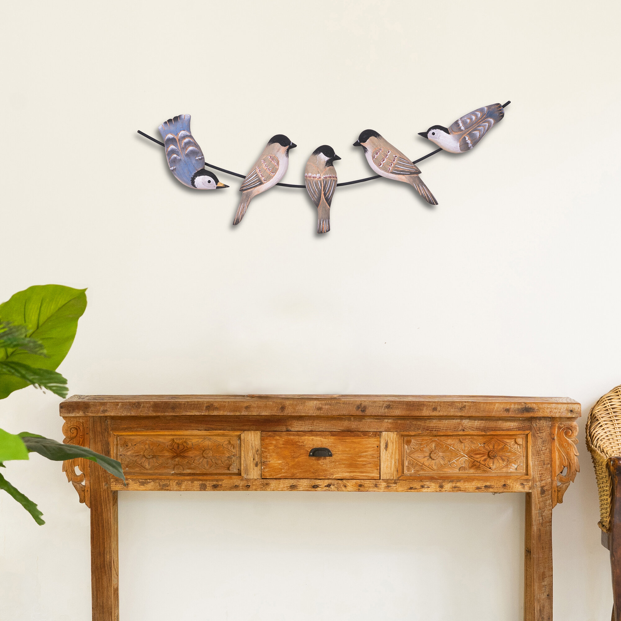 5 Birds On A Wire Wood Wall Décor throughout Birds On A Wire Wall Decor (Image 2 of 30)