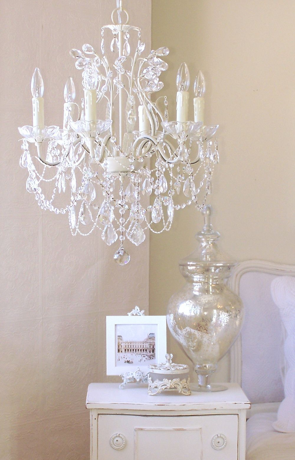 5-Light Antique White Chandelier With Pink Rose Shades inside Jill 4-Light Drum Chandeliers (Image 2 of 30)