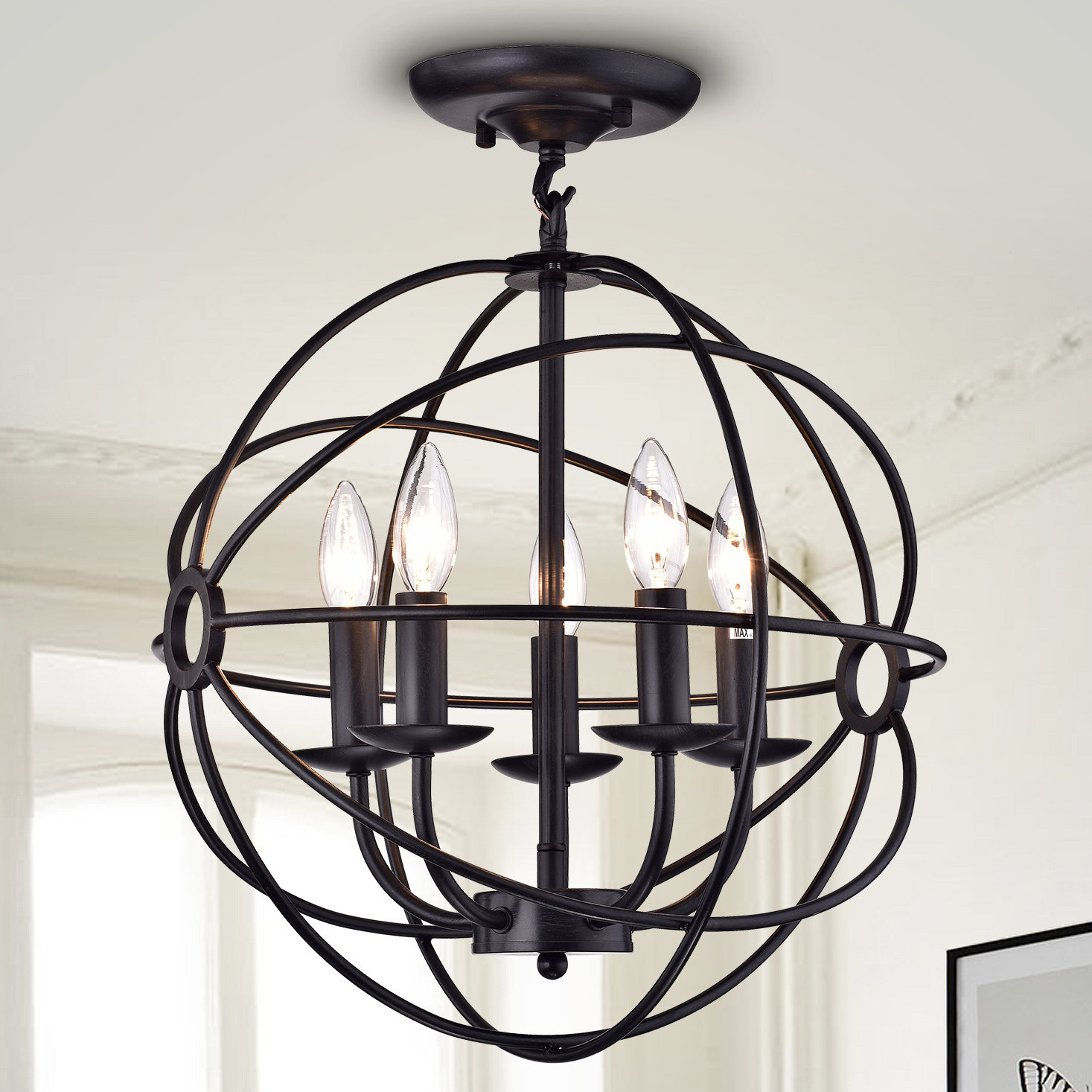 5 Light Globe Chandelier Pertaining To Verlene Foyer 5 Light Globe Chandeliers (View 6 of 30)
