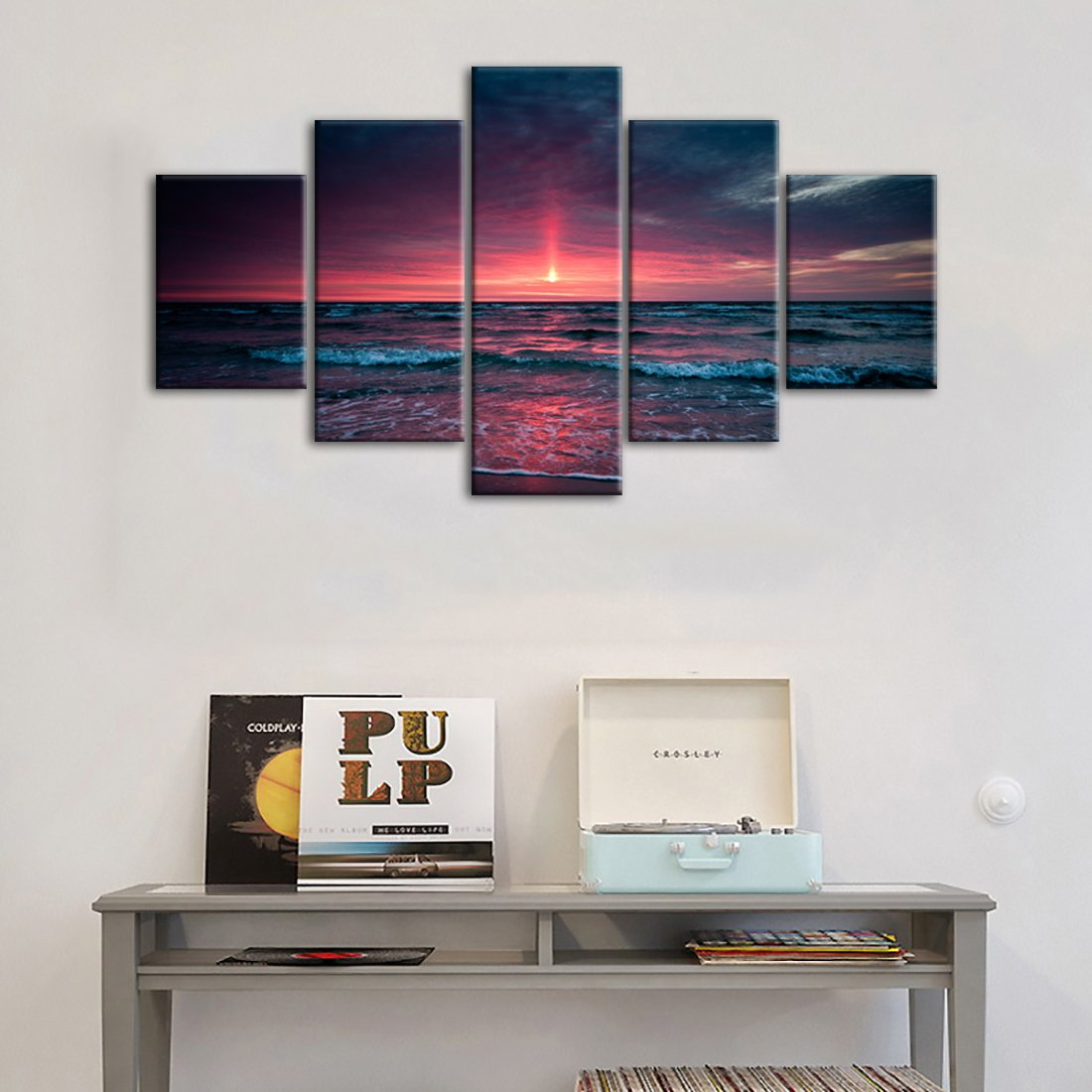 5 Panel Canvas Wall Art For Living Room Red Aurora Appears In The Ocean  Seaview Sunset Painting Modern Seascape Pictures Home Wall Decor Prints And in Aurora Sun Wall Decor (Image 2 of 30)