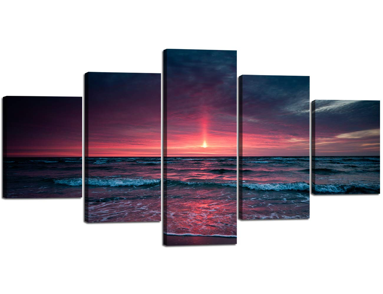 5 Panel Canvas Wall Art For Living Room Red Aurora Appears In The Ocean  Seaview Sunset Painting Modern Seascape Pictures Home Wall Decor Prints And with regard to Aurora Sun Wall Decor (Image 3 of 30)