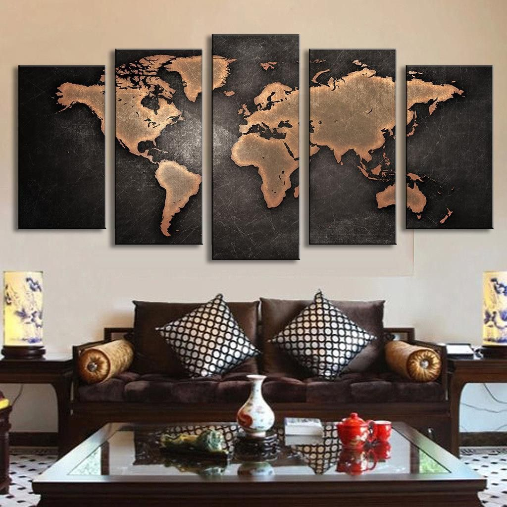 5 Pcs Modern Abstract Wall Art Painting World Map Canvas Throughout Abstract Bar And Panel Wall Decor (Image 8 of 30)