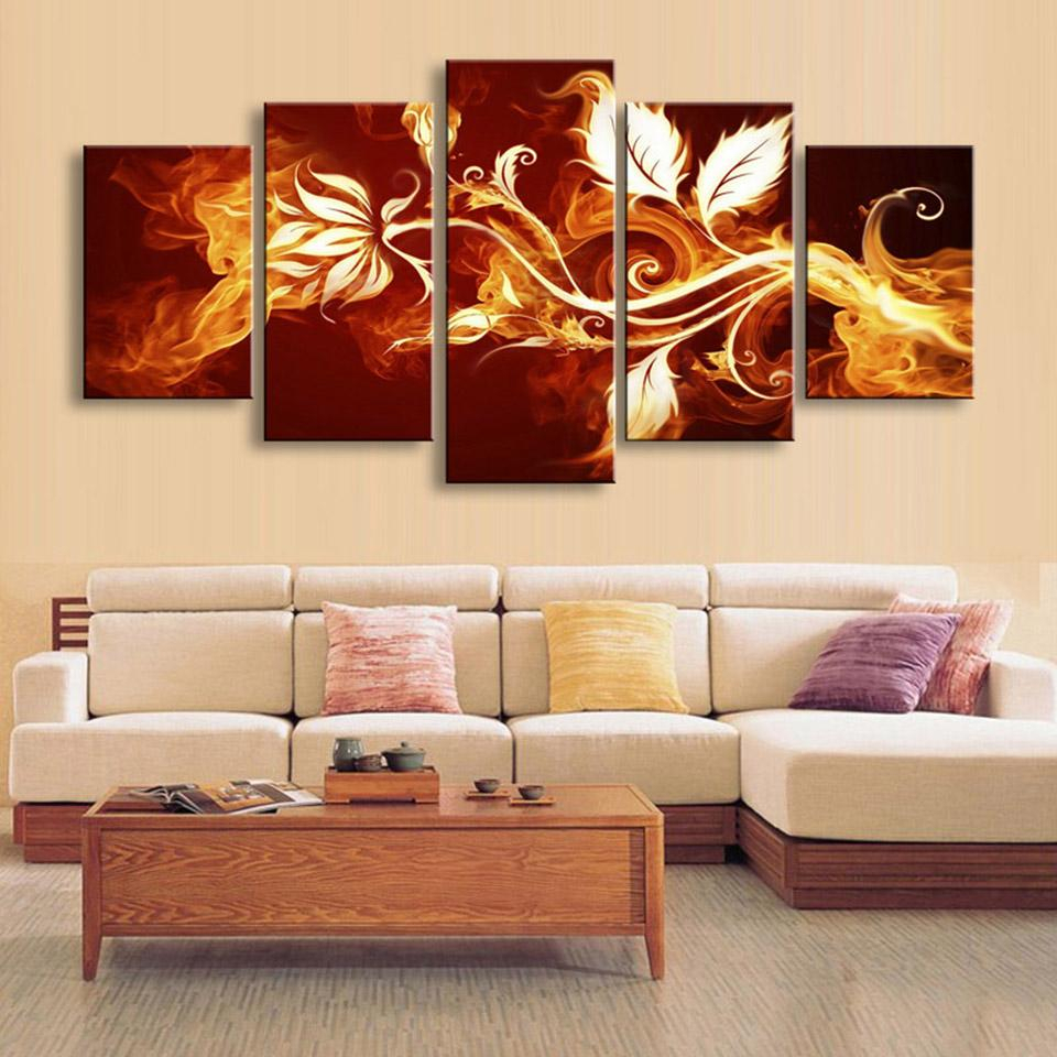 5 Pcs Panel Fire Flowers Picture Wall Art Canvas Panel Wall throughout 3 Piece Magnolia Brown Panel Wall Decor Sets (Image 9 of 30)