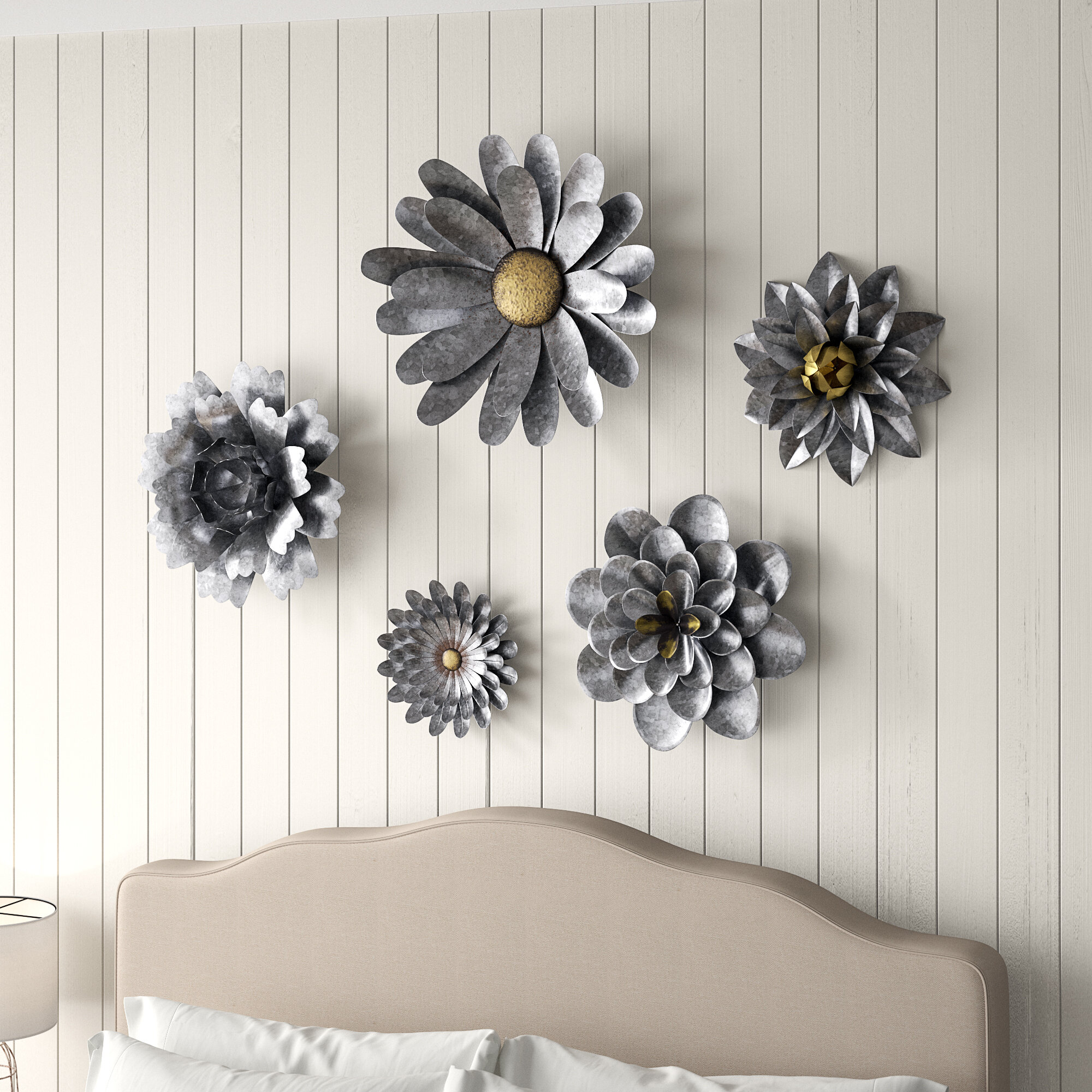 5 Piece Galvanized Metal Flower Hanging Wall Décor Set intended for 3 Piece Ceramic Flowers Wall Decor Sets (Image 12 of 30)