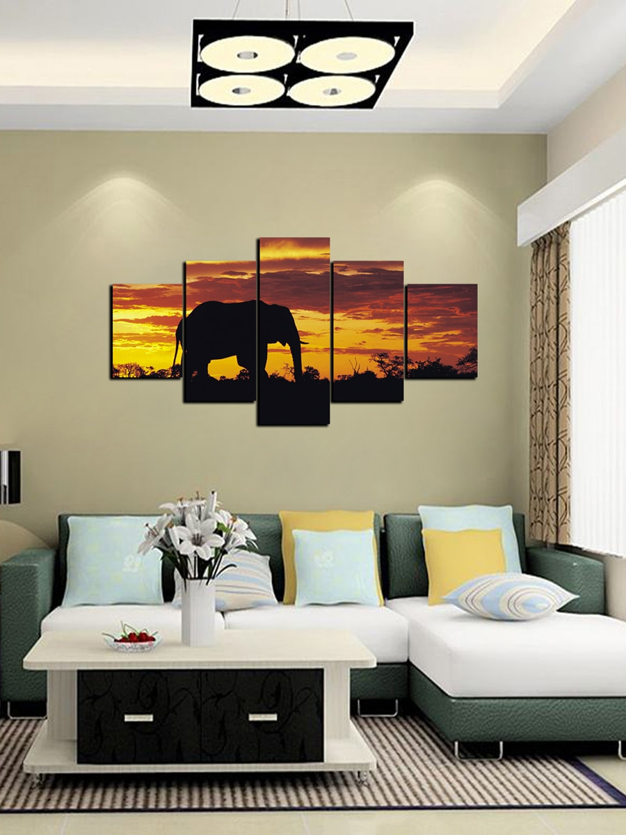 5Pcs Wall Drawings Elephant Sunset Pattern Modern Style Living Room Wall Decor With Casual Country Eat Here Retro Wall Decor (View 12 of 30)