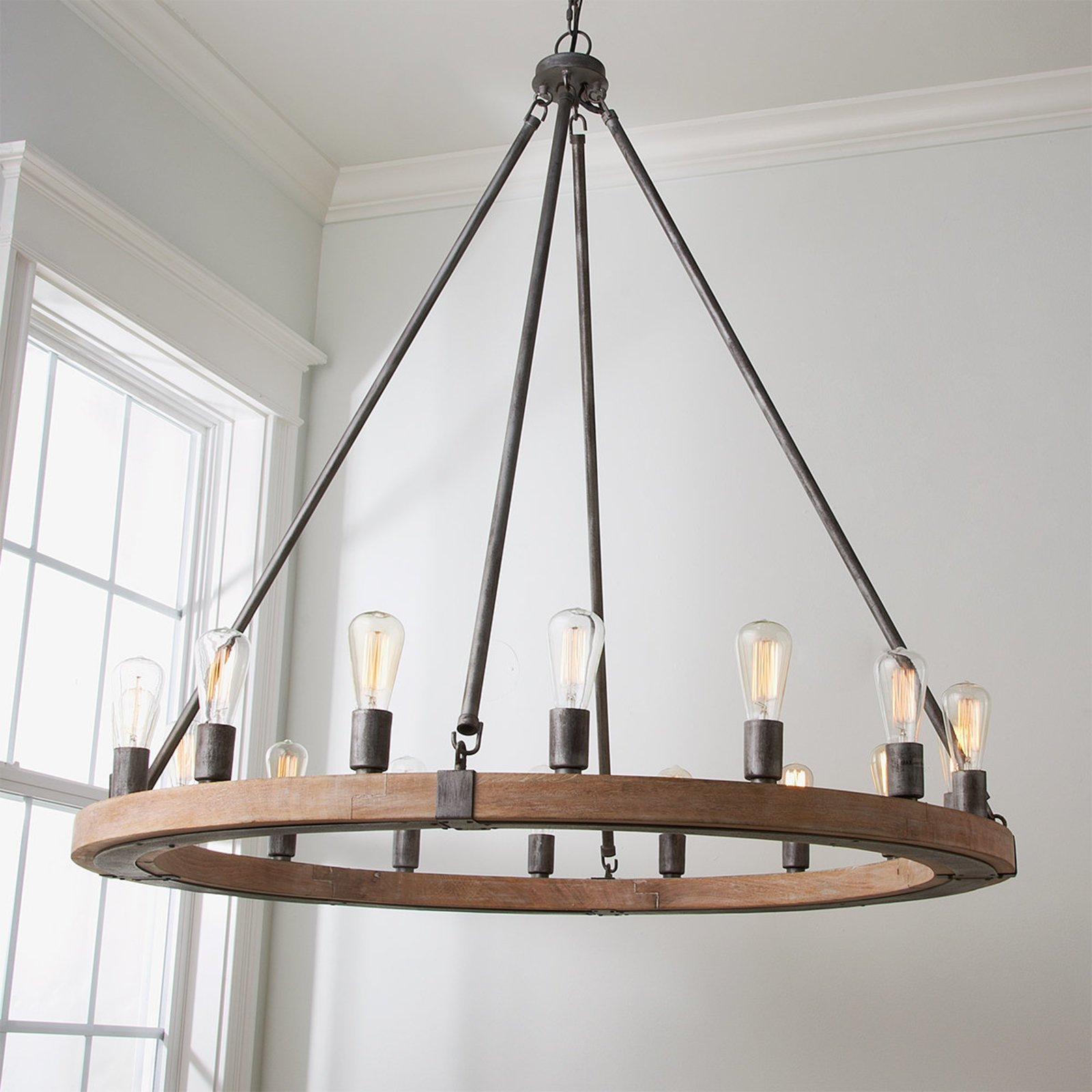 6 Arm Wooden Farmhouse Chandelier Diressed Black Over Within Shayla 12 Light Wagon Wheel Chandeliers (View 1 of 30)