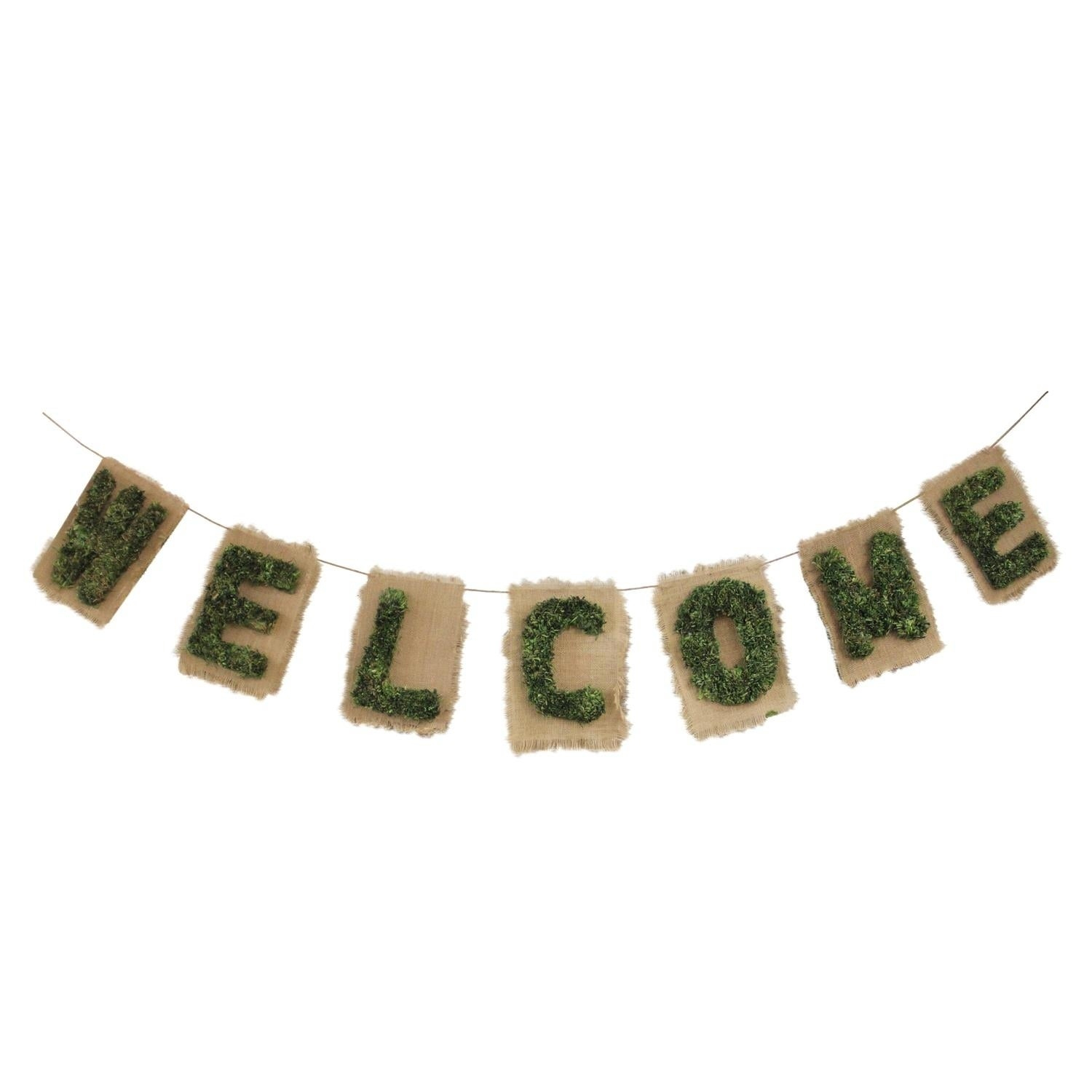 "6' Cozy Twine Brown And Green €Œwelcome"" Hanging Wall Decoration With Regard To In A Word ""welcome"" Wall Decor (Photo 20 of 30)"