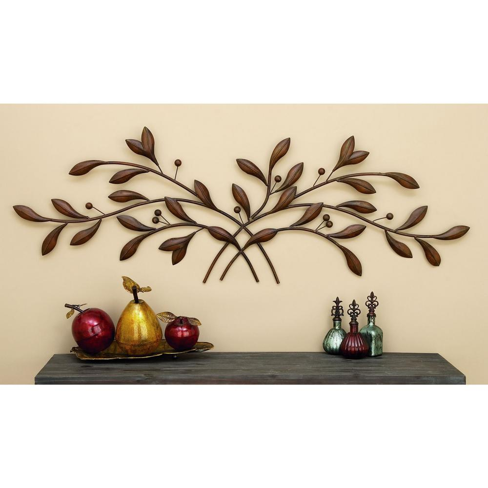 60 In. Metal Branch Wall Decor within Leaves Metal Sculpture Wall Decor (Image 5 of 30)