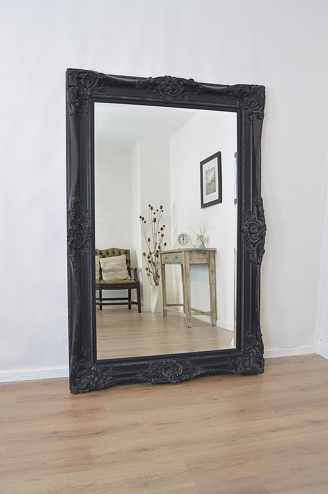 6Ft X 4Ft Large Black Antique Style Rectangle Wood Wall Pertaining To Rectangle Ornate Geometric Wall Mirrors (Gallery 28 of 30)