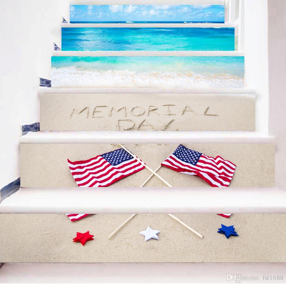 6Pcs/set America Flag Beach 3D Stairway Stickers Stairs Stickers Waterproof  Art Fall Floor Wall Decor Decals Sticker Living Room Decoration Throughout American Flag 3D Wall Decor (Image 7 of 30)