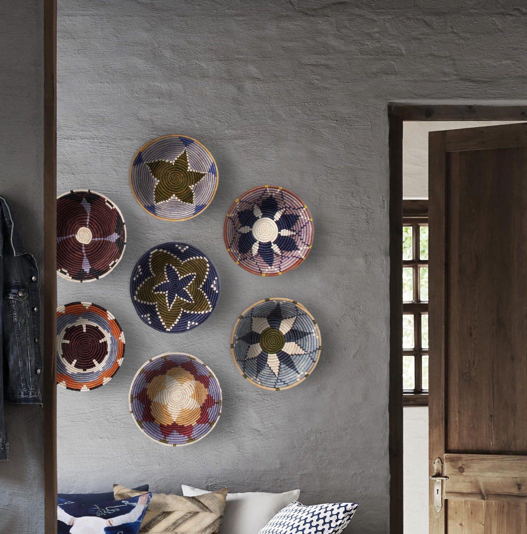 7 Piece Round Unframed Wall Décor Set For Olive/gray Metal Wall Decor (View 11 of 30)