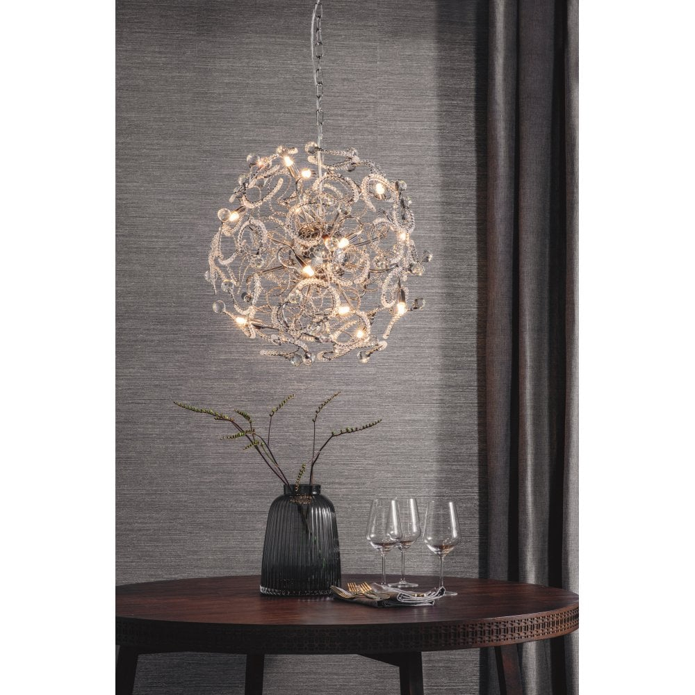 76437 Gabriella 16 Light Ceiling Pendant In Polished Chrome Finish With Crystal Detail Regarding Gabriella 3 Light Lantern Chandeliers (View 20 of 30)
