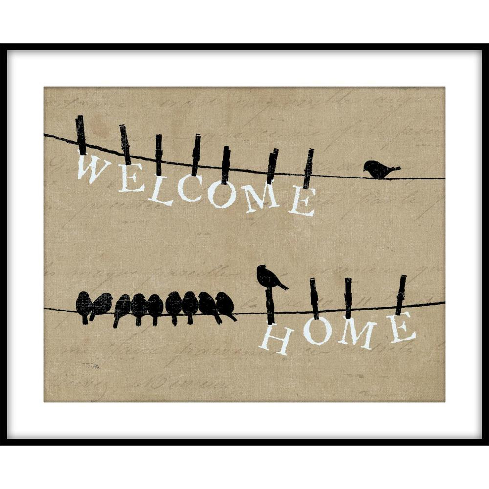 9.75 In. X 11.75 In. ''birds On A Wire - Welcome Home'' Framed Wall Art in Birds on a Wire Wall Decor (Image 3 of 30)