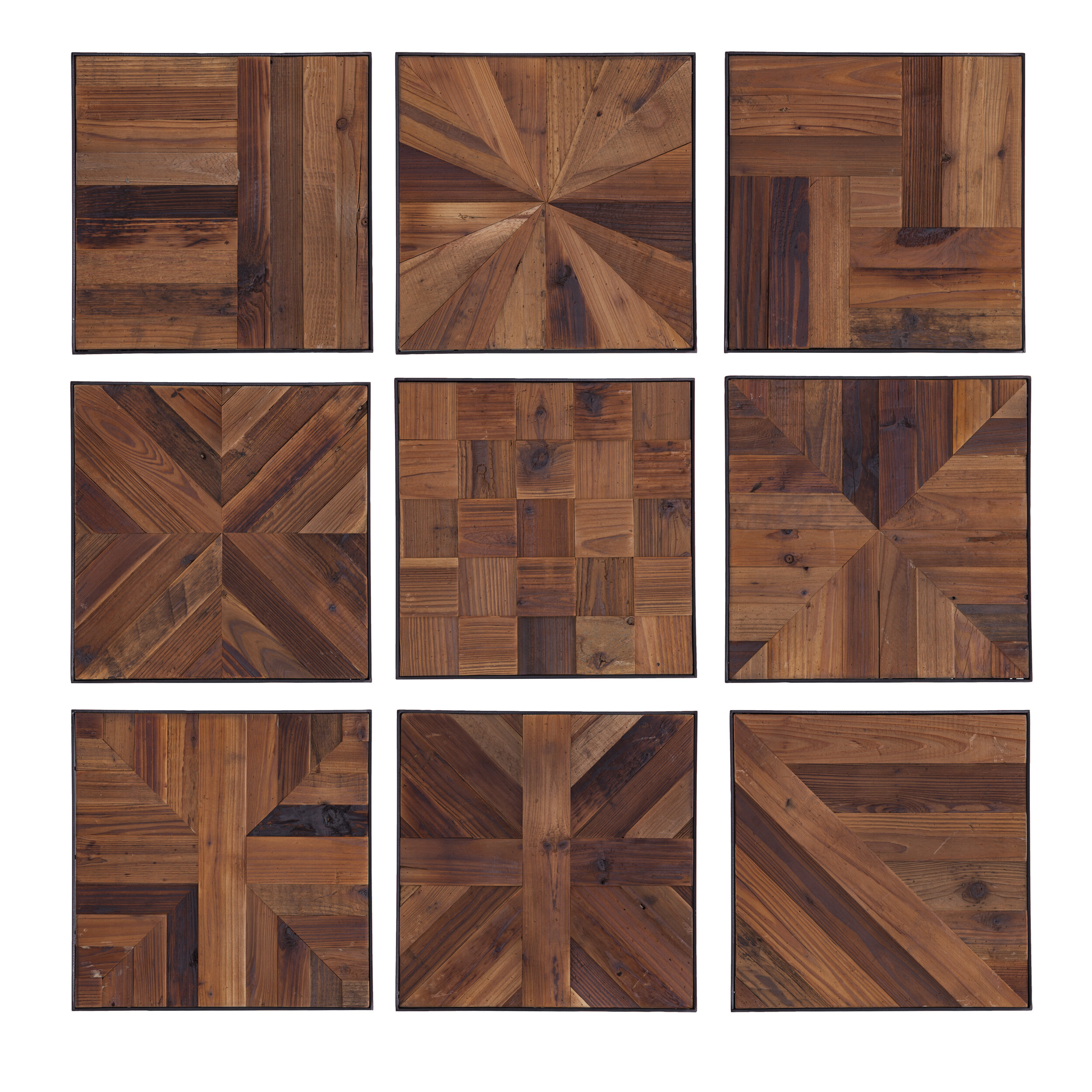 9 Piece Reclaimed Wood Wall Décor Set in 2 Piece Trigg Wall Decor Sets (Set of 2) (Image 7 of 30)