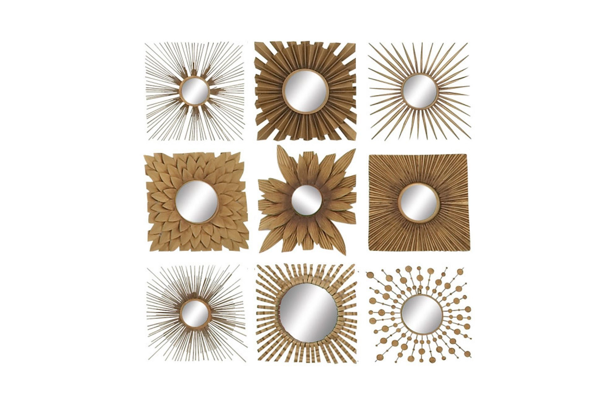 9 Piece Set Metal Wood Mirror Decor | White Oak Residence intended for 2 Piece Starburst Wall Decor Sets (Image 14 of 30)