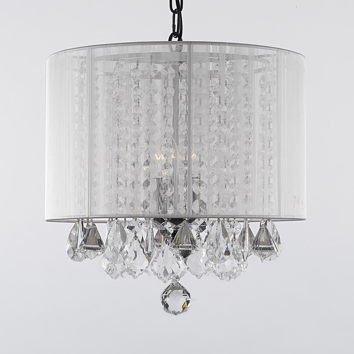 $99 G7 White/sm/604/3 Gallery Chandeliers With Shades Intended For Aurore 4 Light Crystal Chandeliers (View 22 of 30)