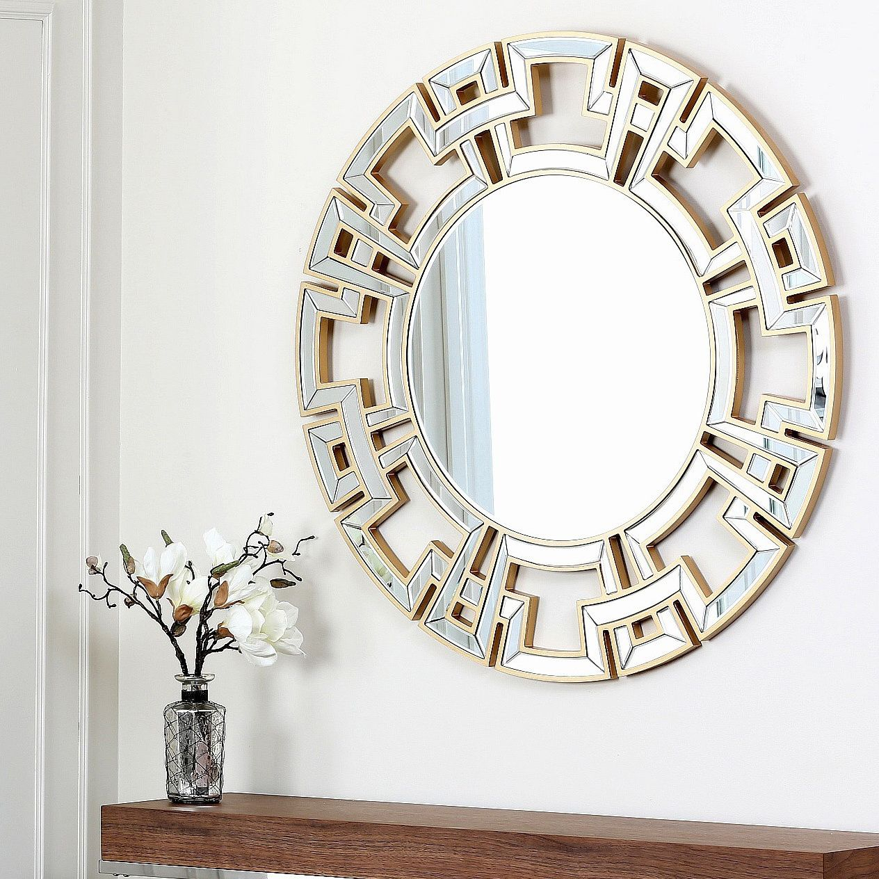 Abbyson Living Pierre Gold Round Wall Mirror – Overstock With Regard To Tata Openwork Round Wall Mirrors (View 3 of 30)