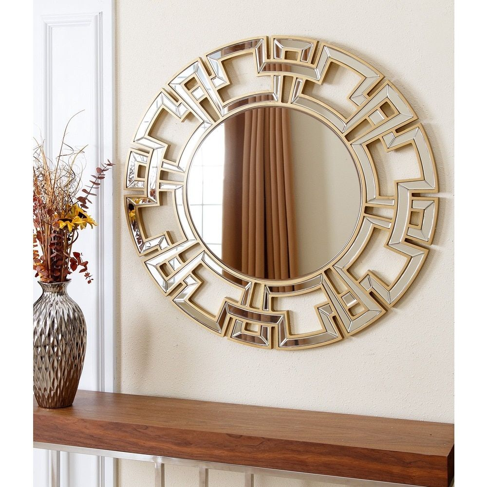Abbyson Pierre Gold Round Wall Mirror (wood – Gold – Glam With Tata Openwork Round Wall Mirrors (View 9 of 30)
