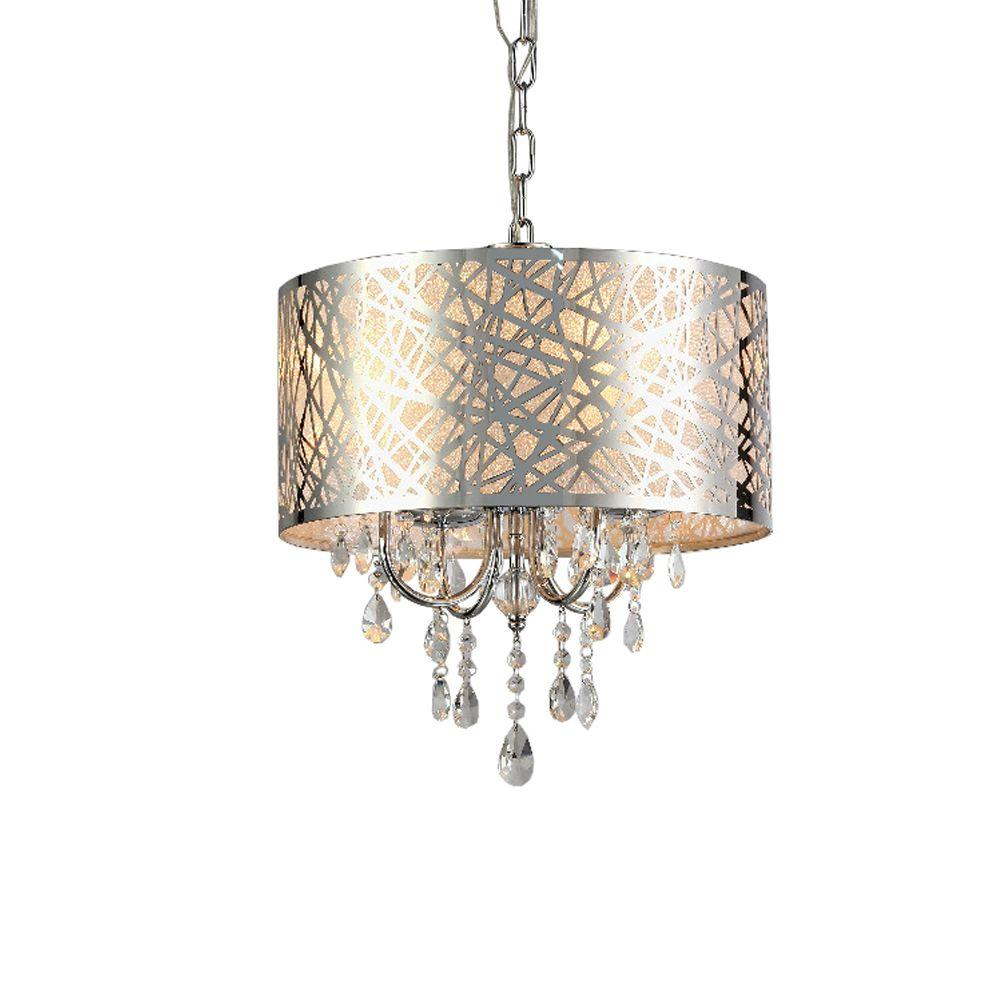Abstract 4 Light Chrome Indoor Crystal Chandelier With Shade With Aurore 4 Light Crystal Chandeliers (View 14 of 30)