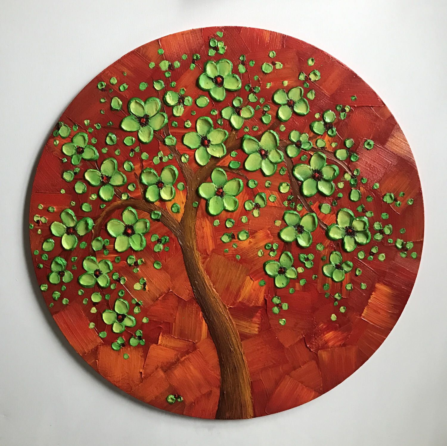 Abstract Art, Cherry Blossom Tree Painting, Round Wall Decor Throughout Contemporary Abstract Round Wall Decor (View 2 of 30)