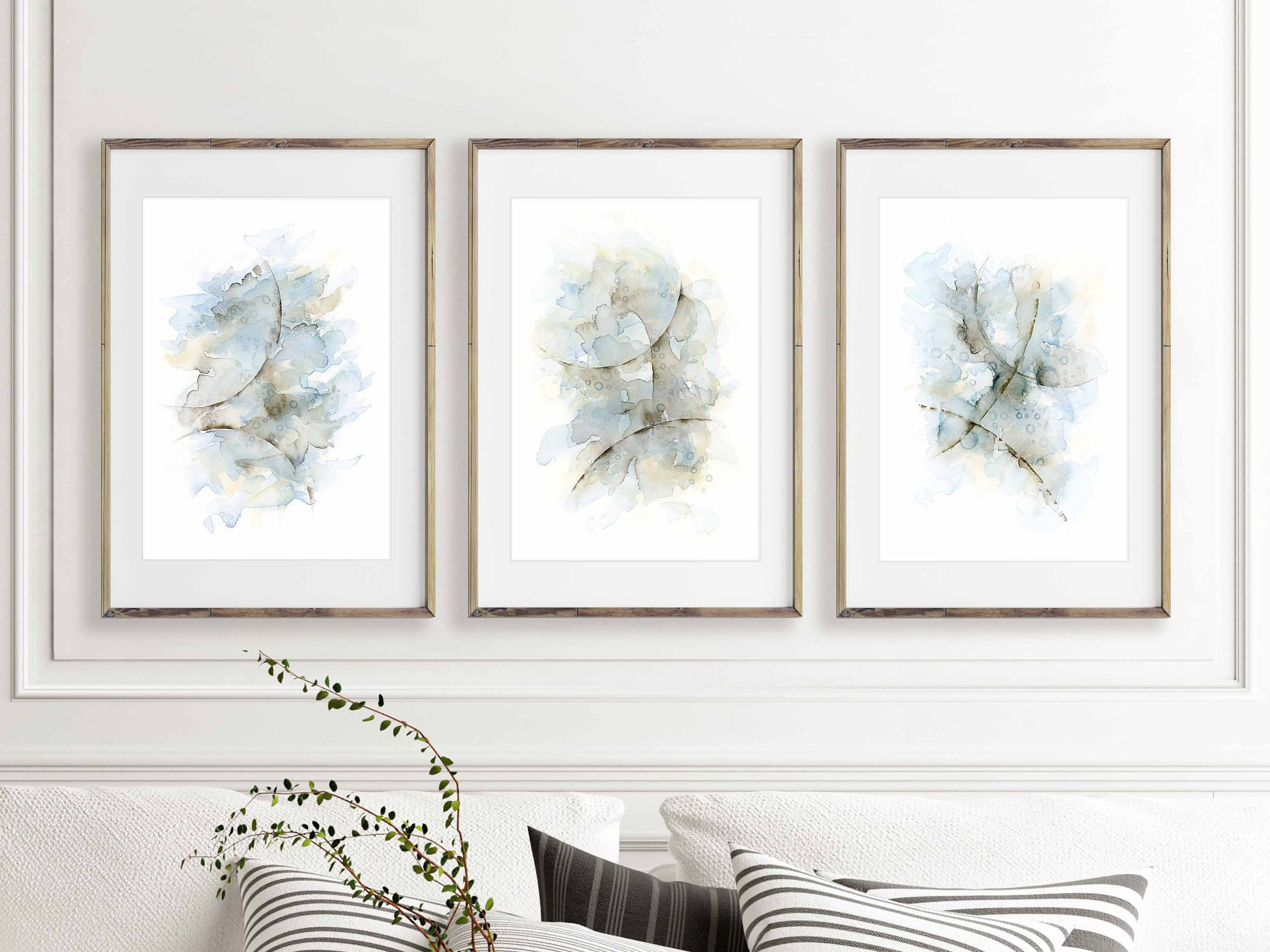 Abstract Art Print Set Of 3, Watercolor Painting 3 Piece Wall Art For Living Room Wall Decor, Modern Art For Dining Room Or Bedroom Wall Art For 3 Piece Capri Butterfly Wall Decor Sets (View 18 of 30)