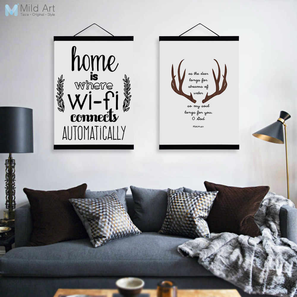Abstract Deer Head Wifi Quotes Wooden Framed Canvas Paintings Modern Nordic Home Decor Big Wall Art Print Pictures Poster Scroll With Regard To Scroll Framed Wall Decor (View 4 of 30)
