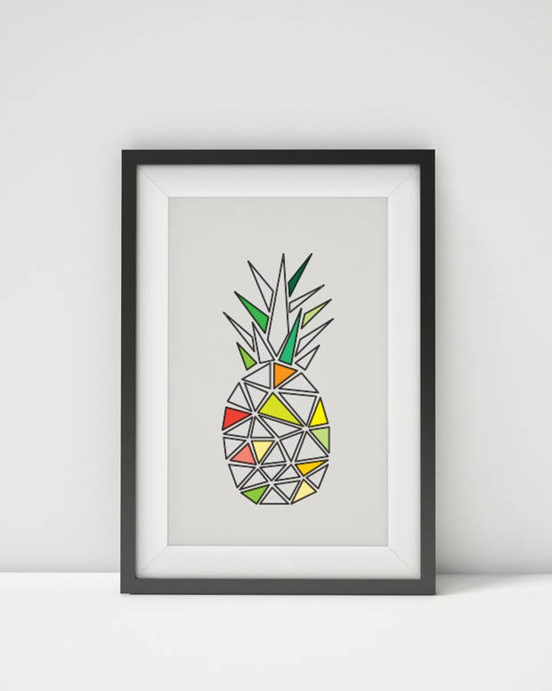 Abstract Pineapple Wall Art, Geometric Pineapple Print, Minimalistic Wall Decor, Kitchen Wall Art, Fruit Print, Pineapple Poster, Printable Within Pineapple Wall Decor (View 4 of 30)