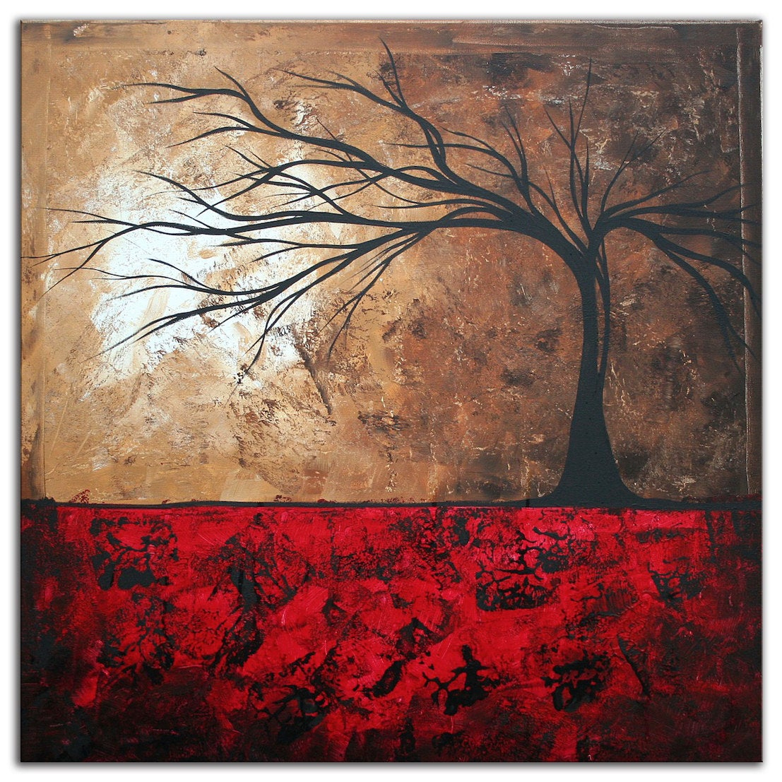 Abstract Tree Art 'lost In The Forest' Modern Wall Decor Giclee On Metal, Contemporary Landscape Red Brown Trees Artworkmegan Duncanson Regarding Contemporary Forest Metal Wall Decor (View 8 of 30)