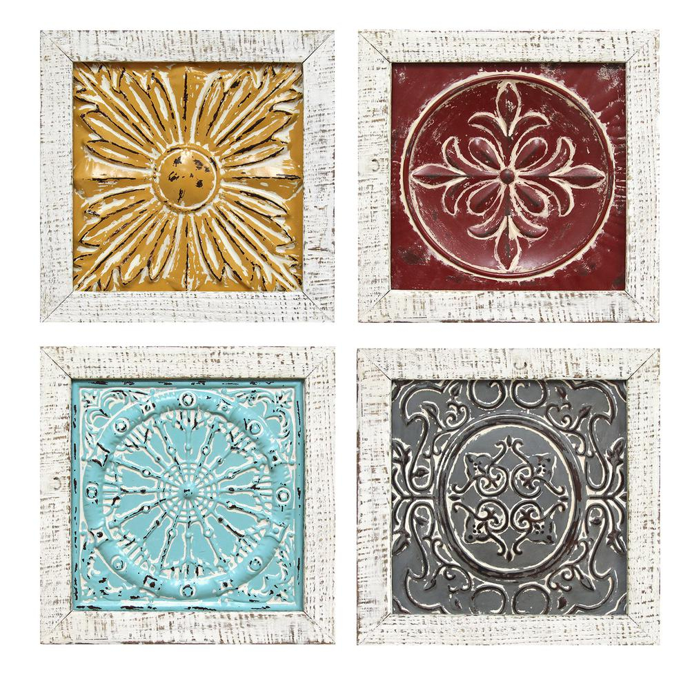 Accent Metal Tile Wall Art (Set Of 4) within Belle Circular Scroll Wall Decor (Image 3 of 30)