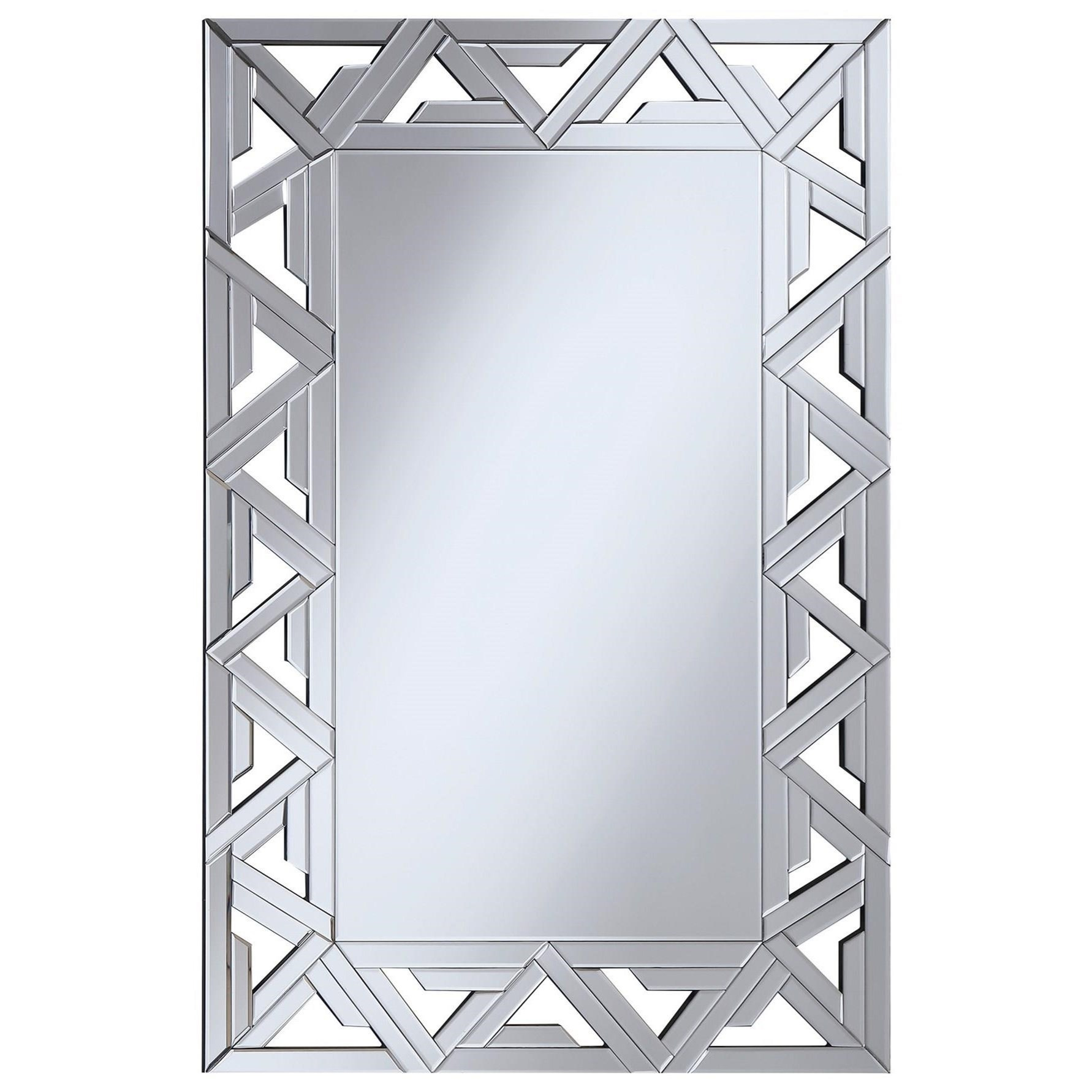 Accent Mirrors Geometric Wall Mirror With Mirrored Framecoaster At Dunk & Bright Furniture Inside Silver Frame Accent Mirrors (View 23 of 30)