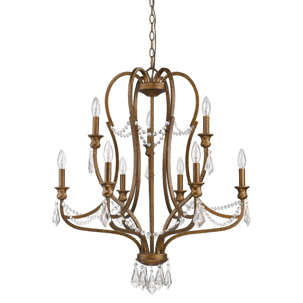 Acclaim Lighting Gianna 9 Light Indoor Chandelier With Crystal In Russet Pertaining To Kenedy 9 Light Candle Style Chandeliers (View 23 of 30)