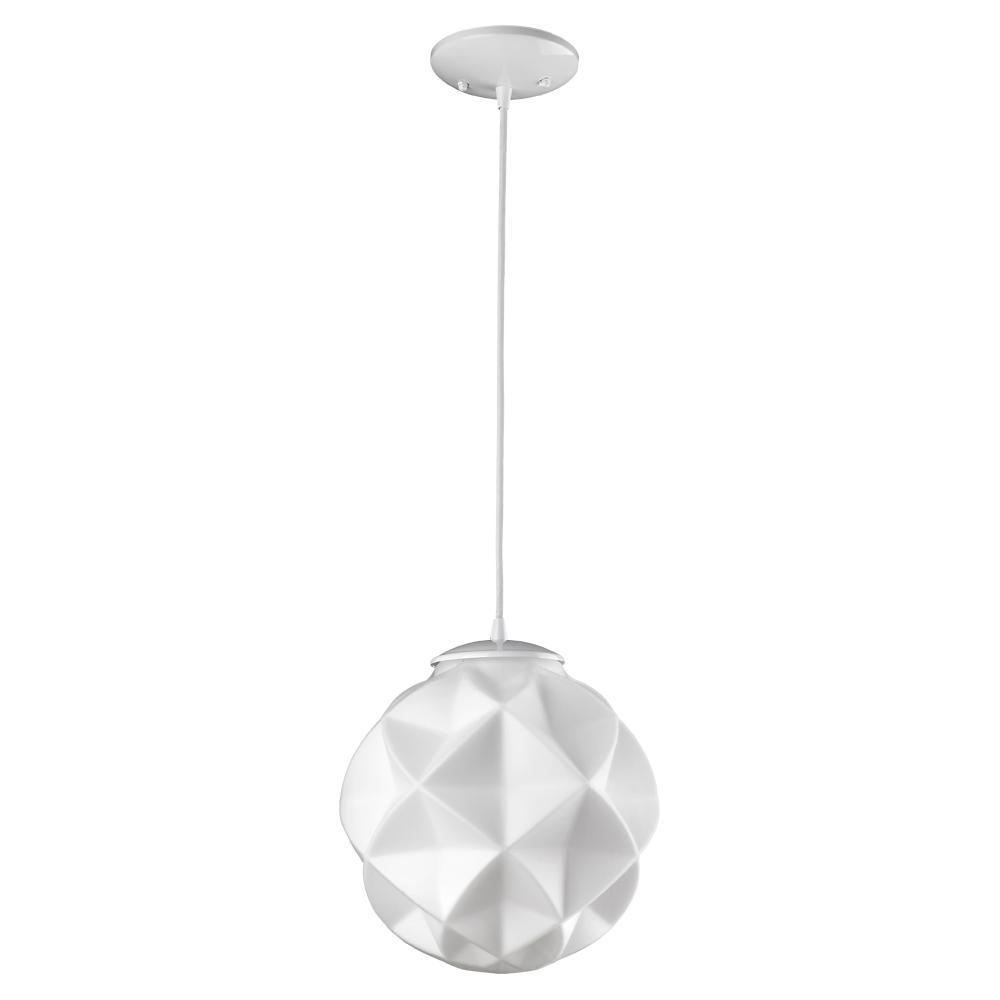 Acclaim Lighting Nova 1-Light White Mini Pendant With Geometric Globe Shade inside 1-Light Geometric Globe Pendants (Image 6 of 30)