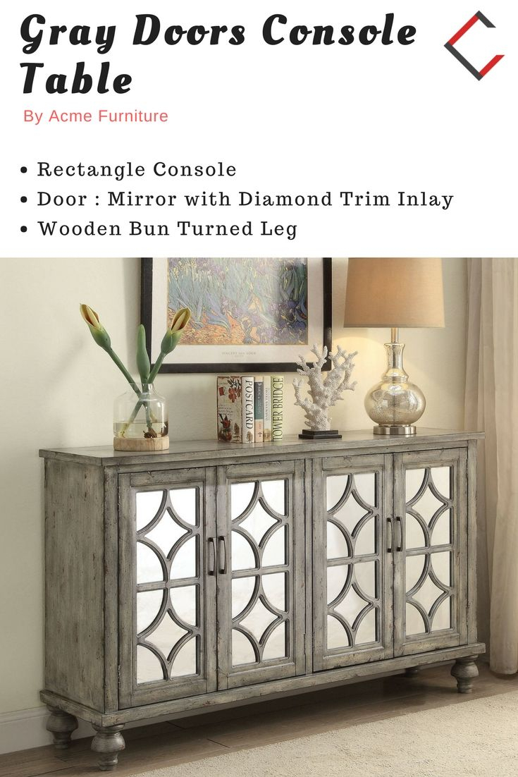 Acme Furniture Velika Weathered Gray Doors Console Table throughout Kara 4 Door Accent Cabinets (Image 5 of 30)