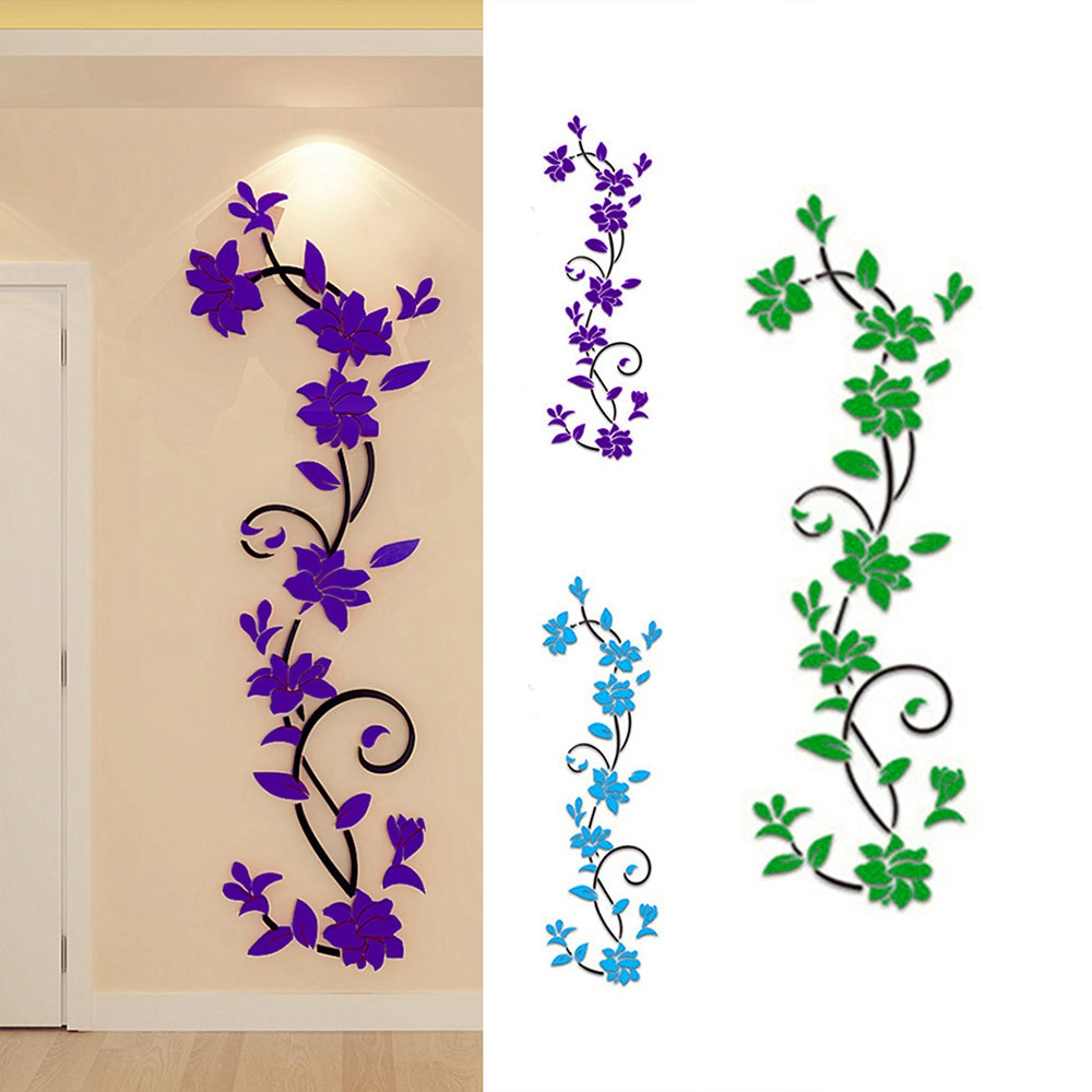 Acrylic Crystal 3d Wall Stickers Living Room Tv Background Plant Flowers Wall Decor Home Decoration Adesivi #3$ Throughout Three Flowers On Vine Wall Decor (View 8 of 30)