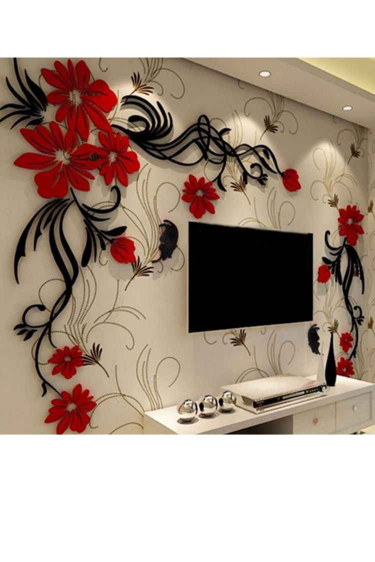 Acrylic Material Living Room 3d Wall Sticker | 3d Wall Throughout Three Flowers On Vine Wall Decor (View 3 of 30)