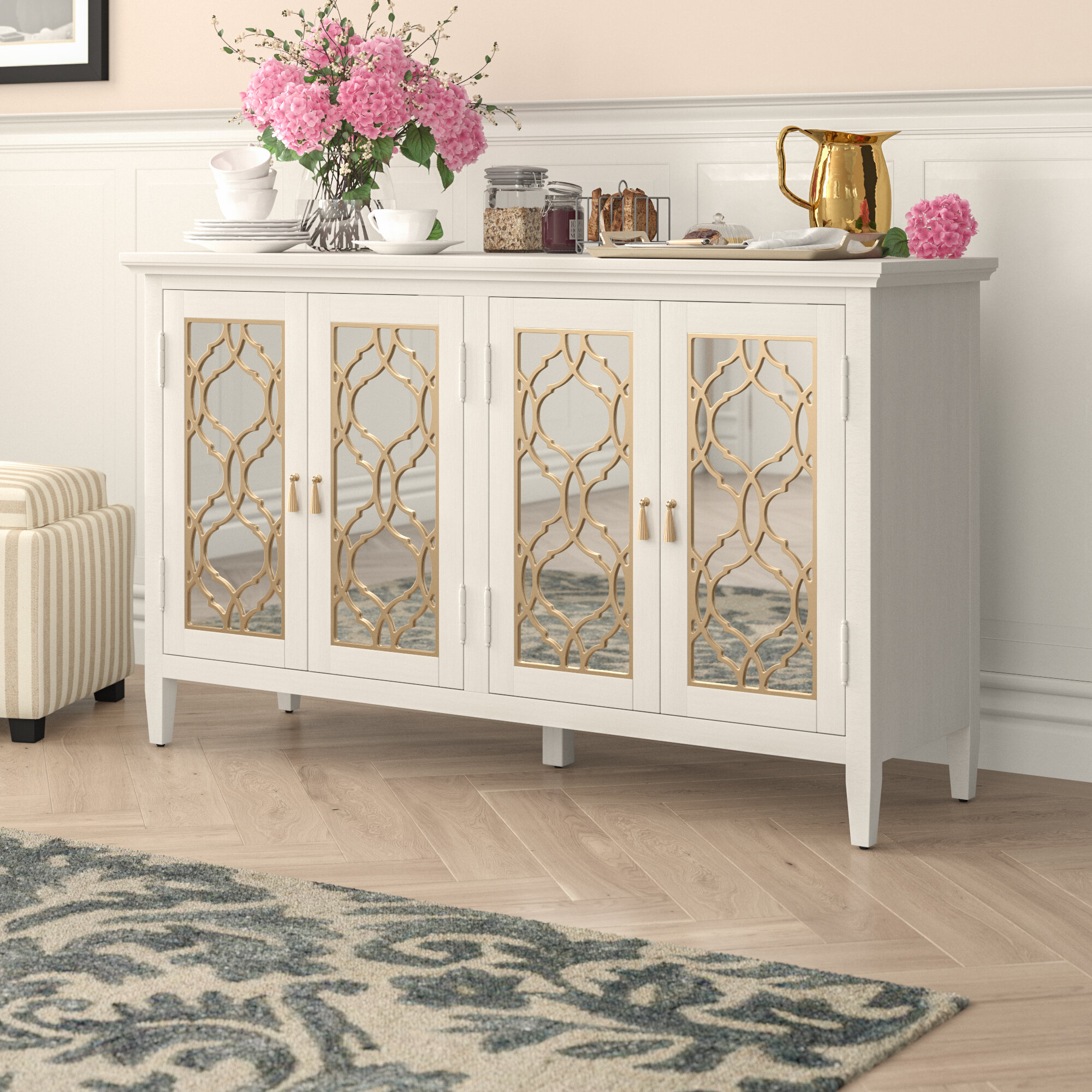 Adali Four Door Mirror Front Sideboard with regard to Stillwater Sideboards (Image 1 of 30)