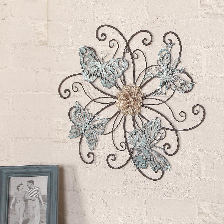 Adeco Dn0015 Flower & Butterfly Urban Design Metal Wall With Flower Urban Design Metal Wall Decor (View 7 of 30)
