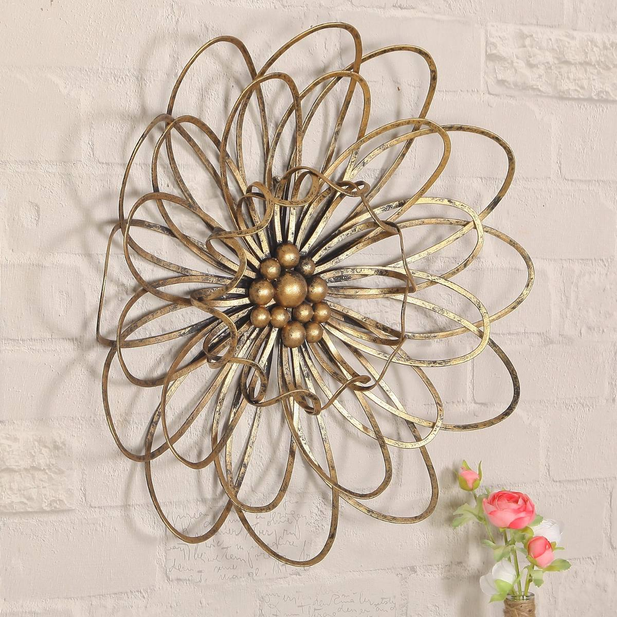 Adeco Dn0018 Flower Urban Design Metal Wall Decor For Natur with Flower Urban Design Metal Wall Decor (Image 5 of 30)