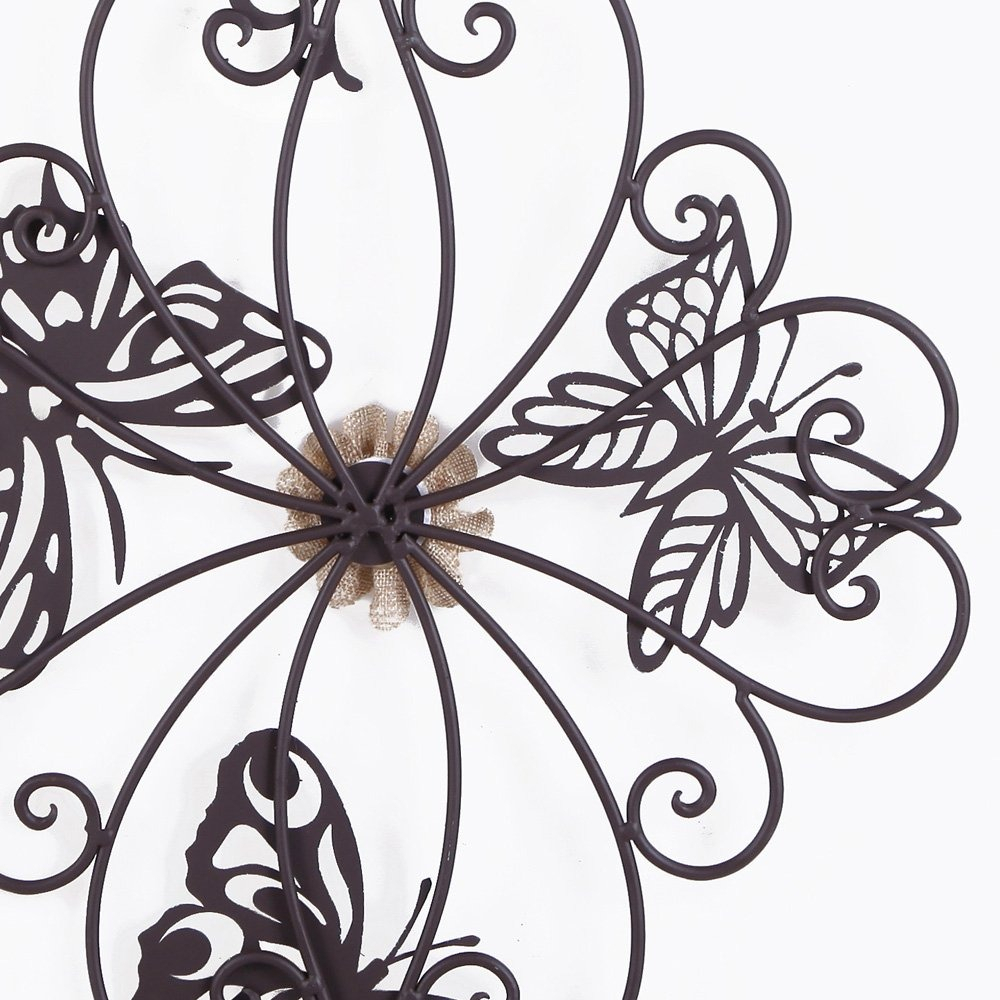 Adeco Flower And Butterfly Urban Design Metal Wall Decor Fo Within Flower And Butterfly Urban Design Metal Wall Decor (View 11 of 30)
