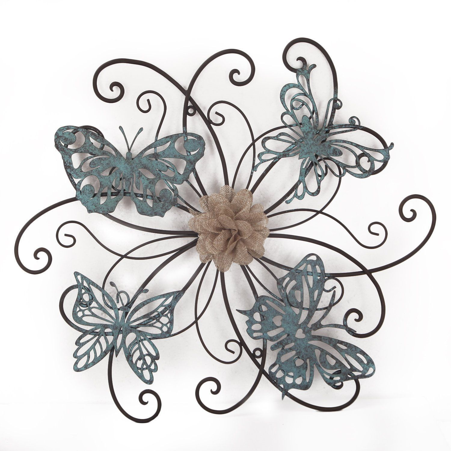 Adeco Flower And Butterfly Urban Design Metal Wall Decor For For Flower And Butterfly Urban Design Metal Wall Decor (View 2 of 30)
