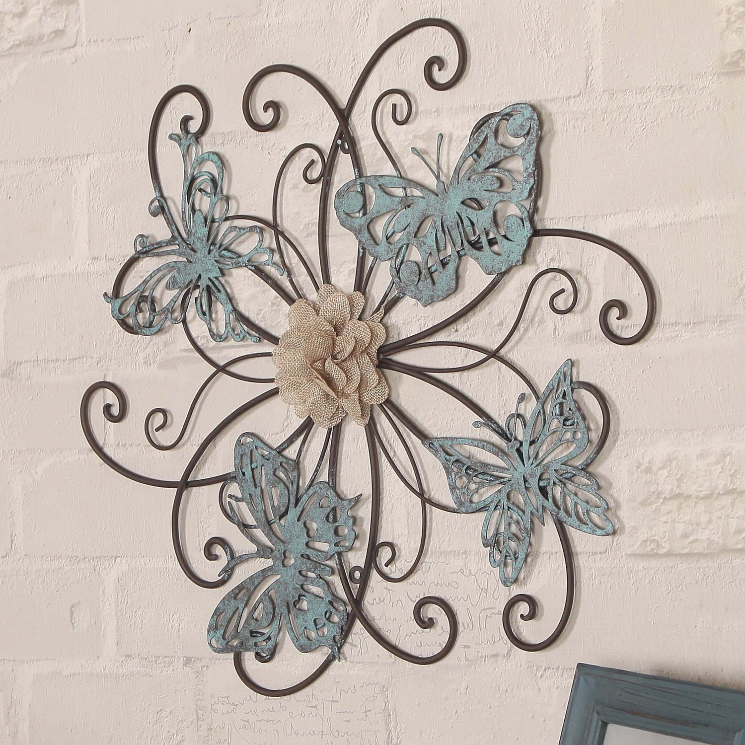 Adeco Flower And Butterfly Urban Design Metal Wall Decor For Nature Home Art Intended For Flower And Butterfly Urban Design Metal Wall Decor (View 5 of 30)