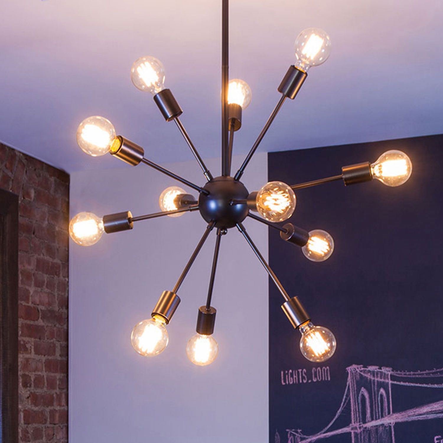 Adjustable 12 Light Gunmetal Sputnik Chandelier Modern Regarding Vroman 12 Light Sputnik Chandeliers (View 17 of 30)