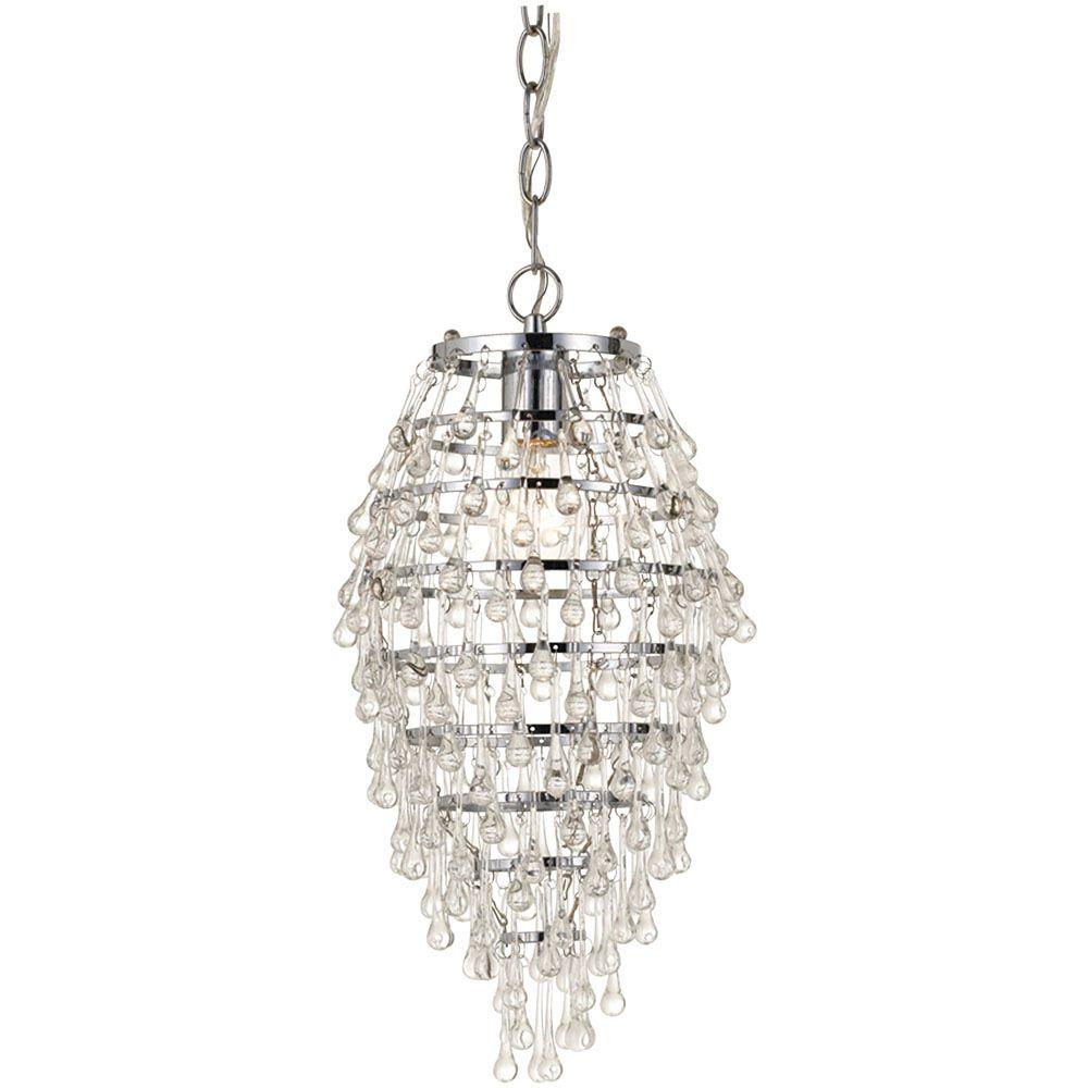 Af Lighting Crystal Teardrop 1-Light Chrome Chandelier regarding 1-Light Single Teardrop Pendants (Image 6 of 30)