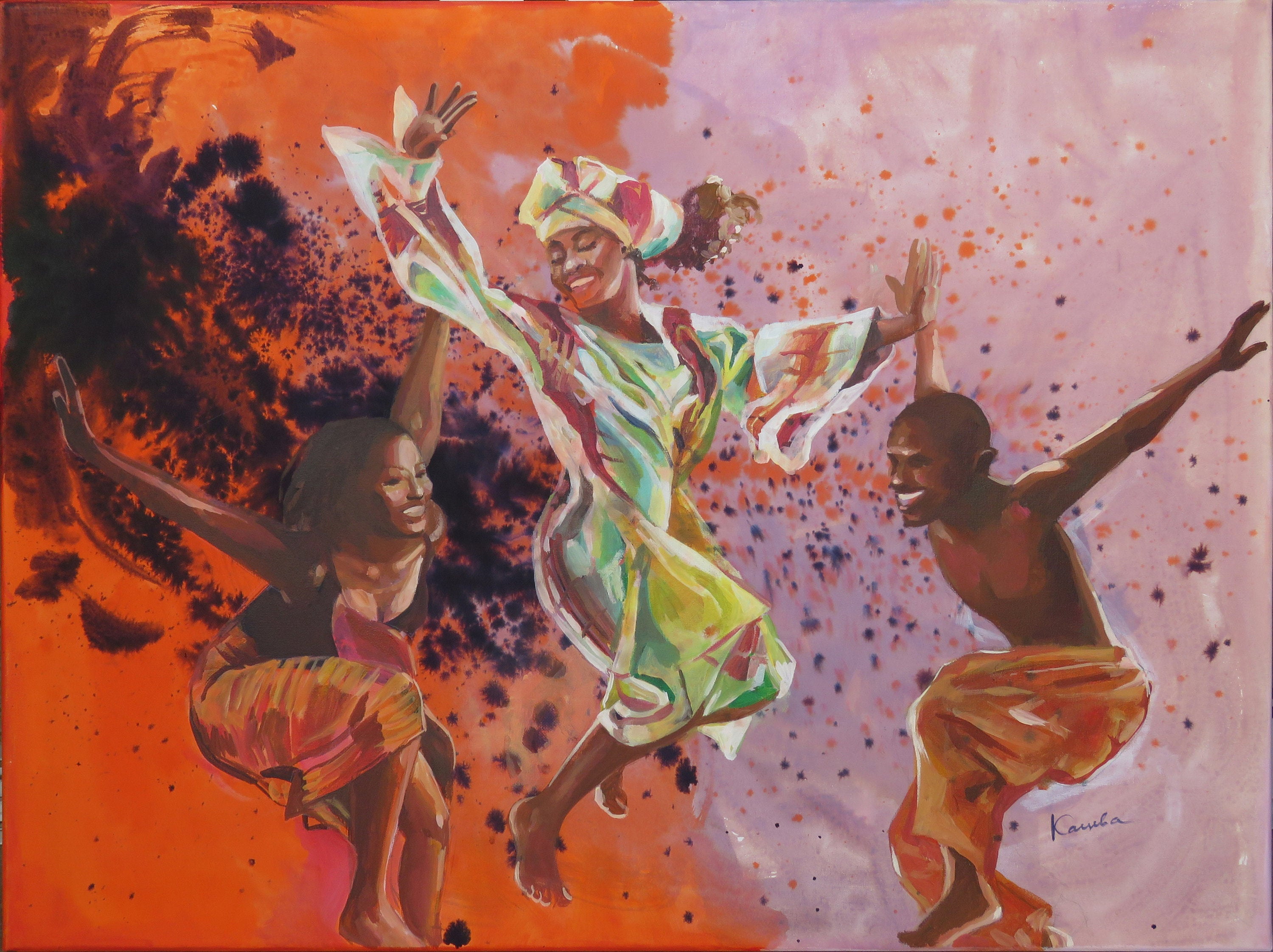 African Dancers, Acrylic Painting On Canvas, Mixed Media: Ink, Acrylic, Home Decor, Large Canvas Wall Art, Original Art Happy Women Throughout Dance Of Desire Wall Decor (View 6 of 30)