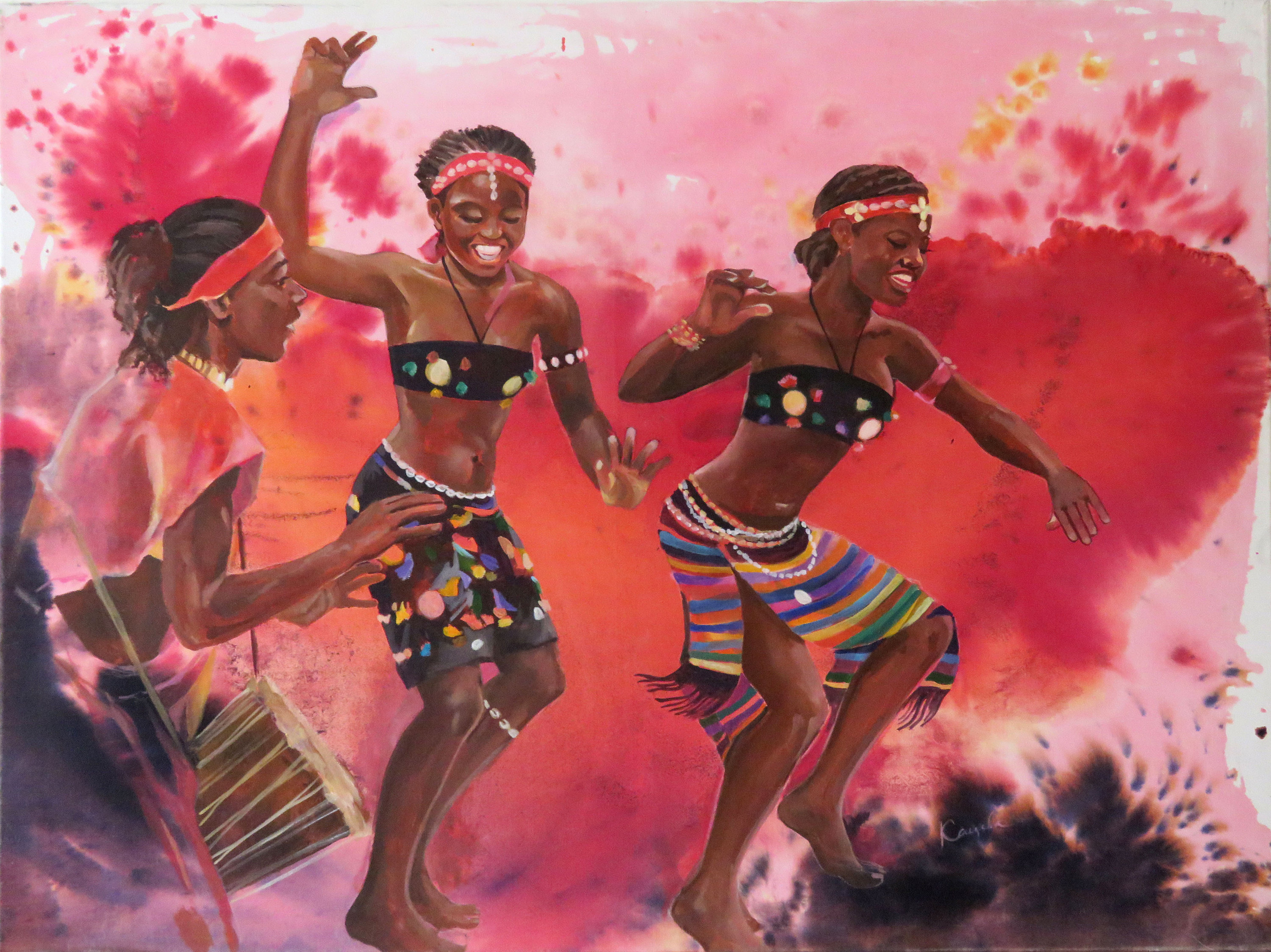 African Dancers, Acrylic Painting On Canvas, Mixed Media: Ink, Acrylic, Large Canvas Wall Art, African Drums, Joyful Women Regarding Dance Of Desire Wall Decor (View 4 of 30)